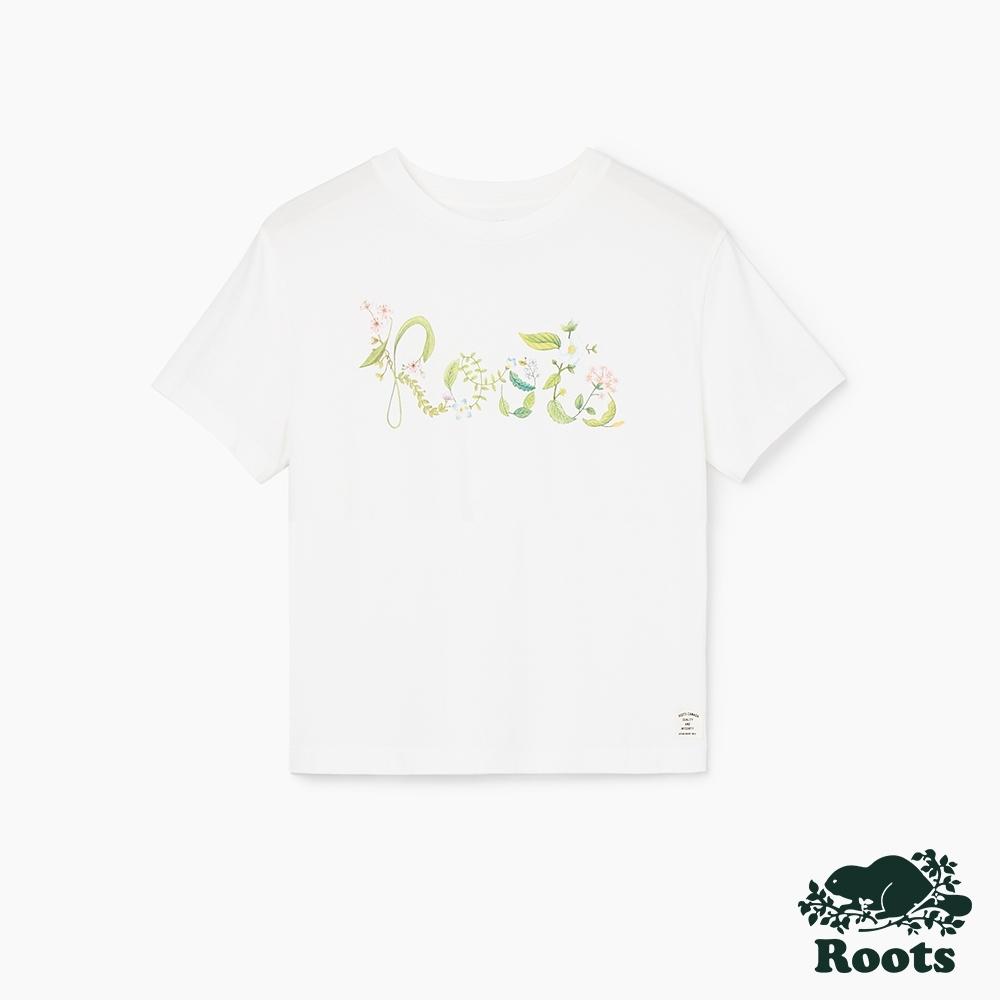 女裝Roots- 有機棉花草logo短袖T恤-白色