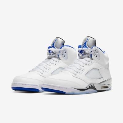 Nike 籃球鞋 Air Jordan 5 Retro 男鞋 經典款 喬丹五代 復刻 皮革 穿搭 白 藍 DD0587140