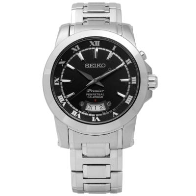 SEIKO 精工 Premier 羅馬 萬年曆 不鏽鋼腕錶-黑色/41mm