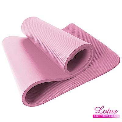 瑜珈墊 福利品 台灣製造加長加厚NBR 10mm瑜珈墊-玫瑰粉 LOTUS