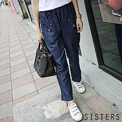 輕薄大口袋丹寧哈倫褲九分褲(M-XL) SISTERS