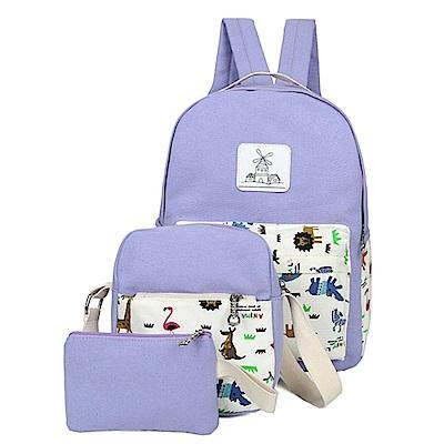 iSPurple 動物草原 超值帆布後背包三件組 紫