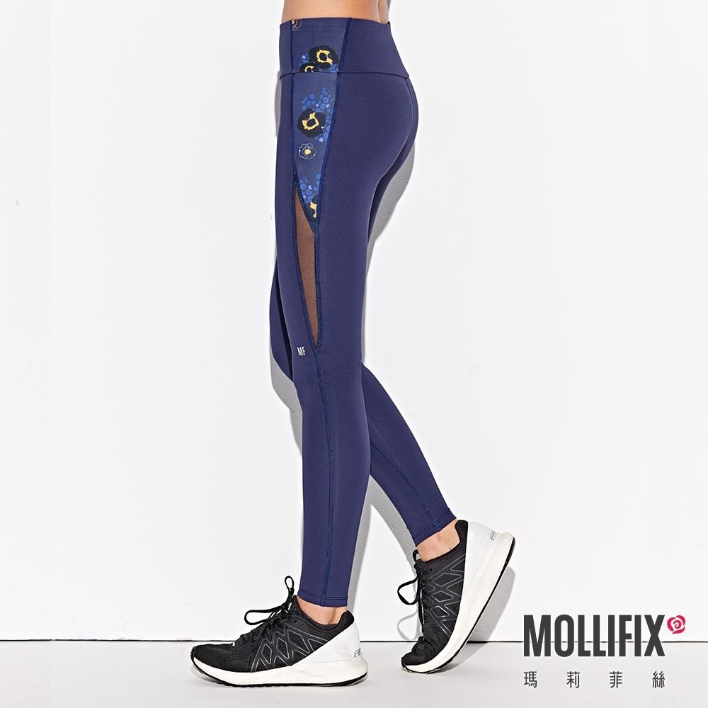 Mollifix 瑪莉菲絲 小尻修飾訓練動塑褲 (藏青+豹紋藍)