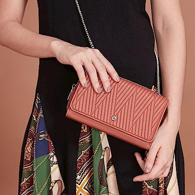 Maria Carla手拿肩背包-羊皮V雙用鏈條包_完美格調、迷漾輕時尚系列(鮭魚粉)