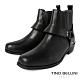 TINO BELLINI 男款 牛皮粗曠率性方頭短筒靴-黑 product thumbnail 1