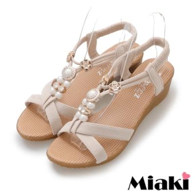 Miaki-涼鞋華麗珍珠楔型涼拖-米