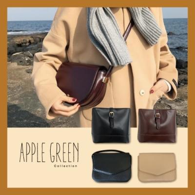 【限時搶購】Apple Green 挺版皮革斜背小包(多款任選)