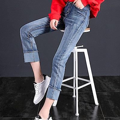 ALLK 翻褲管直筒9分牛仔褲 淺藍色(尺寸27-31腰)