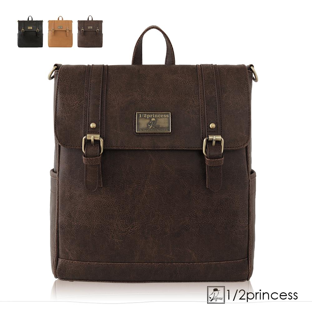 1/2Princess二代復古皮革經典雙扣文青三用背包-卡其[A2625-1](快) @ Y!購物