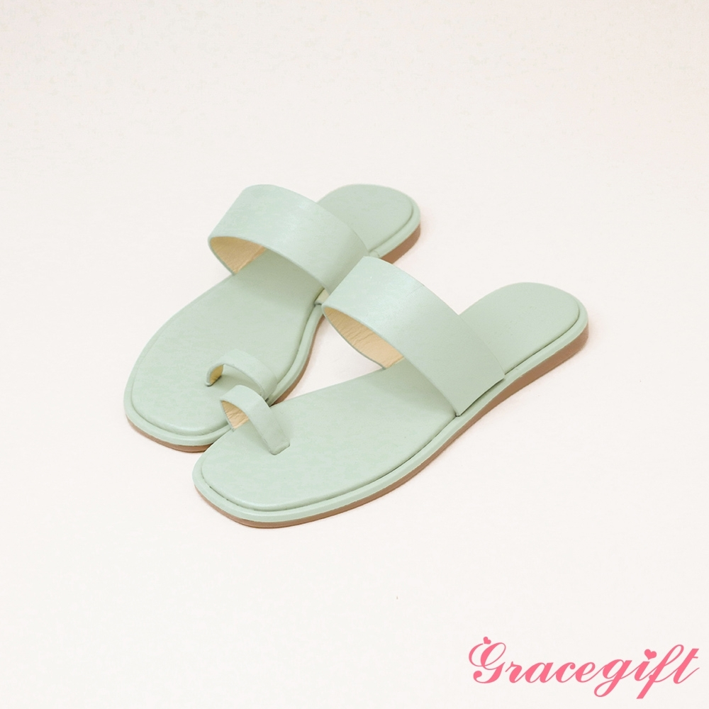 Grace gift-一字寬帶套趾平底涼拖鞋 綠