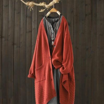 中長版針織衫外套寬鬆毛衣開衫-設計所在