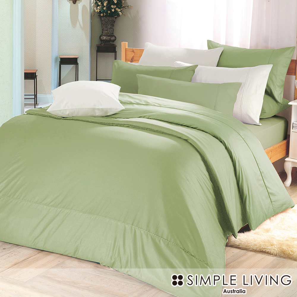 澳洲Simple Living 單人300織台灣製純棉被套(橄欖綠)