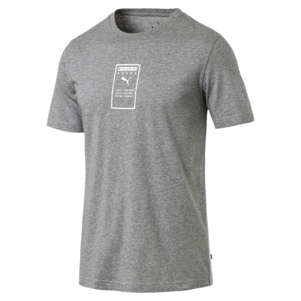 PUMA-男性基本系列Brand短袖T恤-中麻花灰-亞規