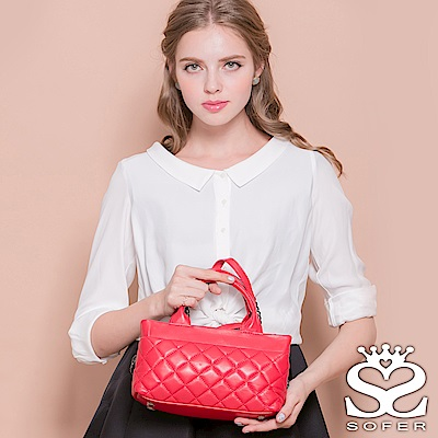 SOFER輕軟羊皮菱格紋手提兩用包薔薇紅