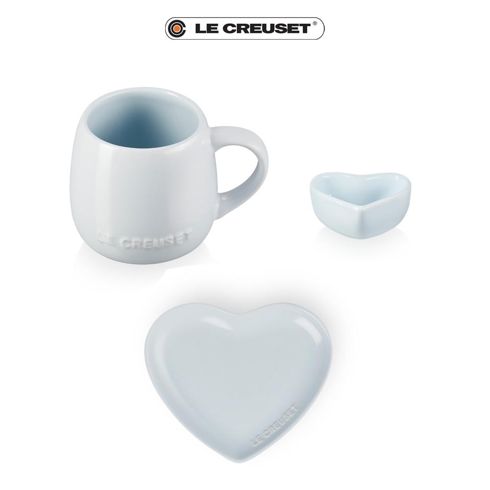 LE CREUSET 情人節限定花蕾系列杯盤套組(晴空藍)