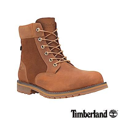 Timberland 男款咖啡色皮革拼接麂皮6吋防水靴