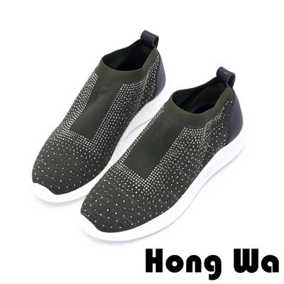 Hong Wa 日系時尚貼鑽透氣編織布休閒鞋 - 綠