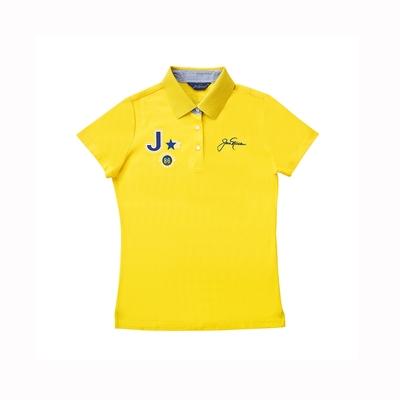 【Jack Nicklaus 】金熊GOLF女款素面吸濕排汗POLO衫-黃色