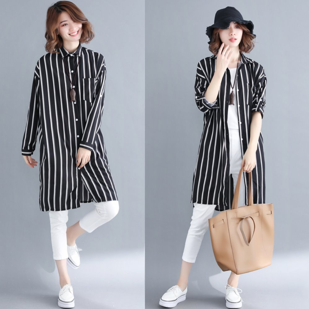 La Belleza雙線直條紋單口袋側開叉長版襯衫外套