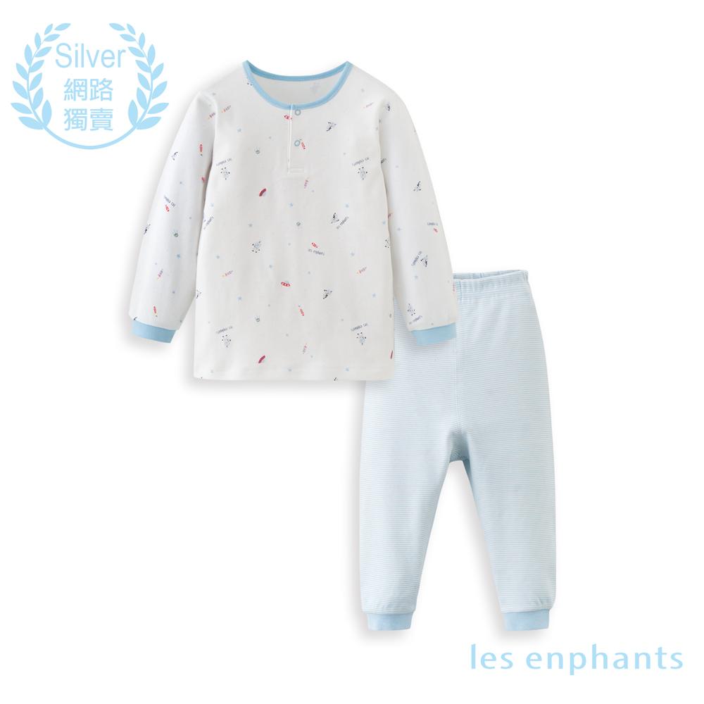 les enphants 精梳棉系列太空兩粒釦套裝(白色)