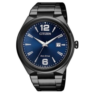 CITIZEN 星辰 GENTS 光動能霧感日期顯示腕錶-藍黑(AW1375-58L)
