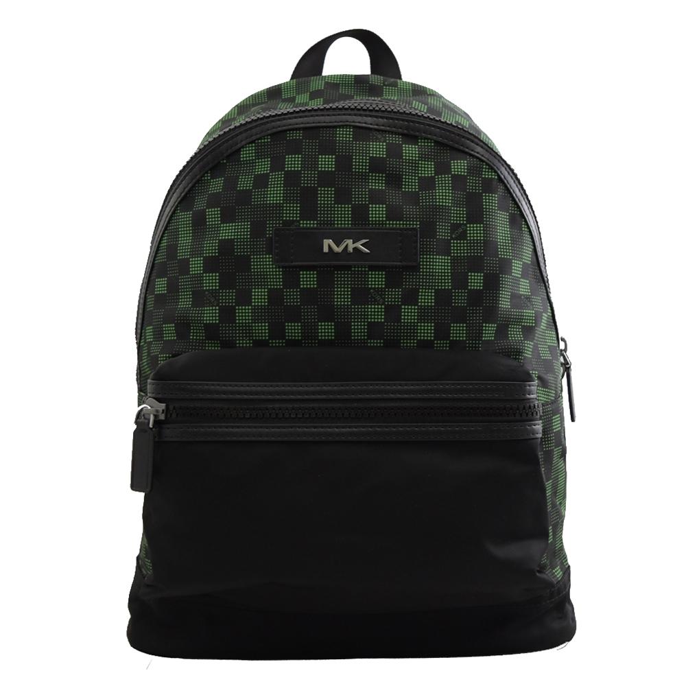MICHAEL KORS KENT格子圖案尼龍拉鍊後背包(黑綠)
