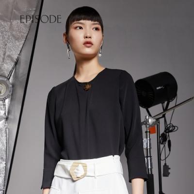 EPISODE - 黑色褶皺寬鬆休閒雪紡圓領襯衫