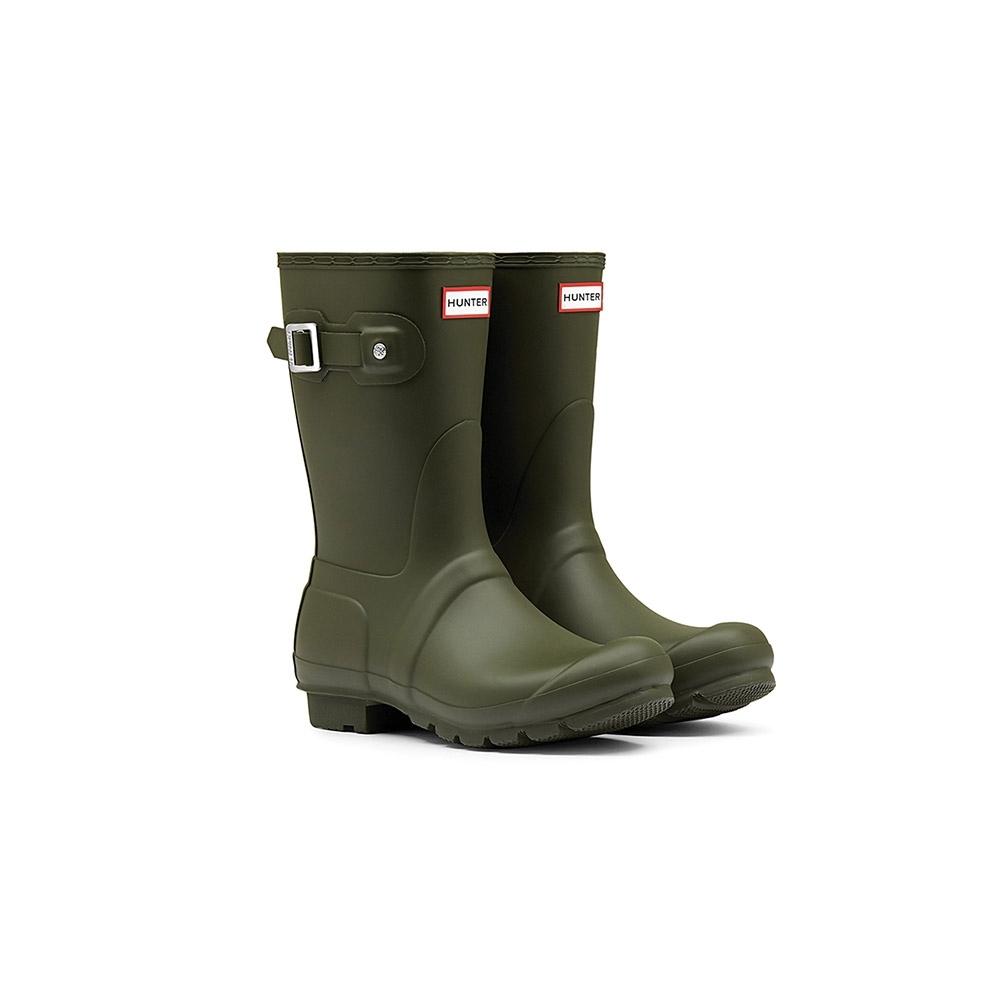 HUNTER - 女鞋-霧面短靴 - 橄欖色