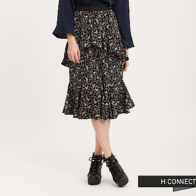 H:CONNECT 韓國品牌 女裝 - 飄逸荷葉花漾長裙-黑(快)
