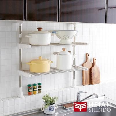日本【平安伸銅】廚房收納雙層不銹鋼置物架 TOS-9