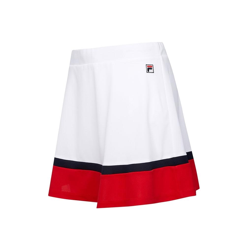 FILA 女抗UV吸濕排汗短裙-白色 5SKT-5011-WT