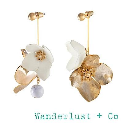 Wanderlust+Co 象牙白蛋殼花朵耳環 大理石紋圓球垂墜式耳環 MAIA DROP