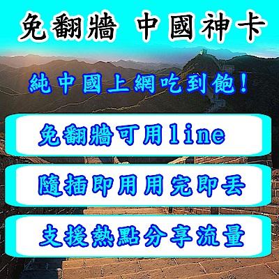 中國上網卡 中國網卡 中國 9天無限上網吃到飽上網卡
