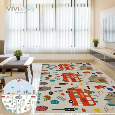 【vivibaby】摺疊式XPE無毒雙面遊戲地墊/爬行墊(英倫汽車)