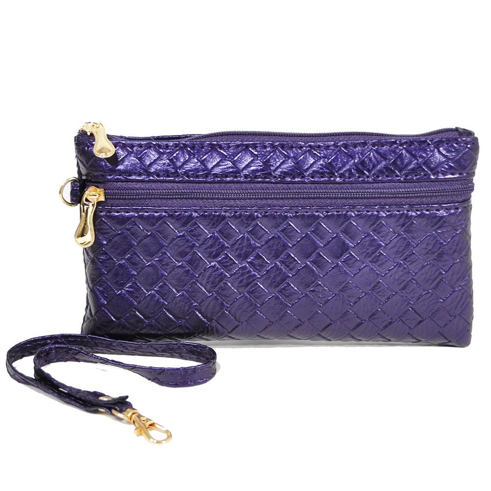 Miyo壓編織紋拉鍊手拿錢包(紫)