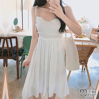 綁帶細肩帶雪紡蕾絲洋裝 白色-mini嚴選