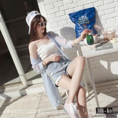 JILLI-KO 肌理薄款長襯衫罩衫- 淺藍/粉紅