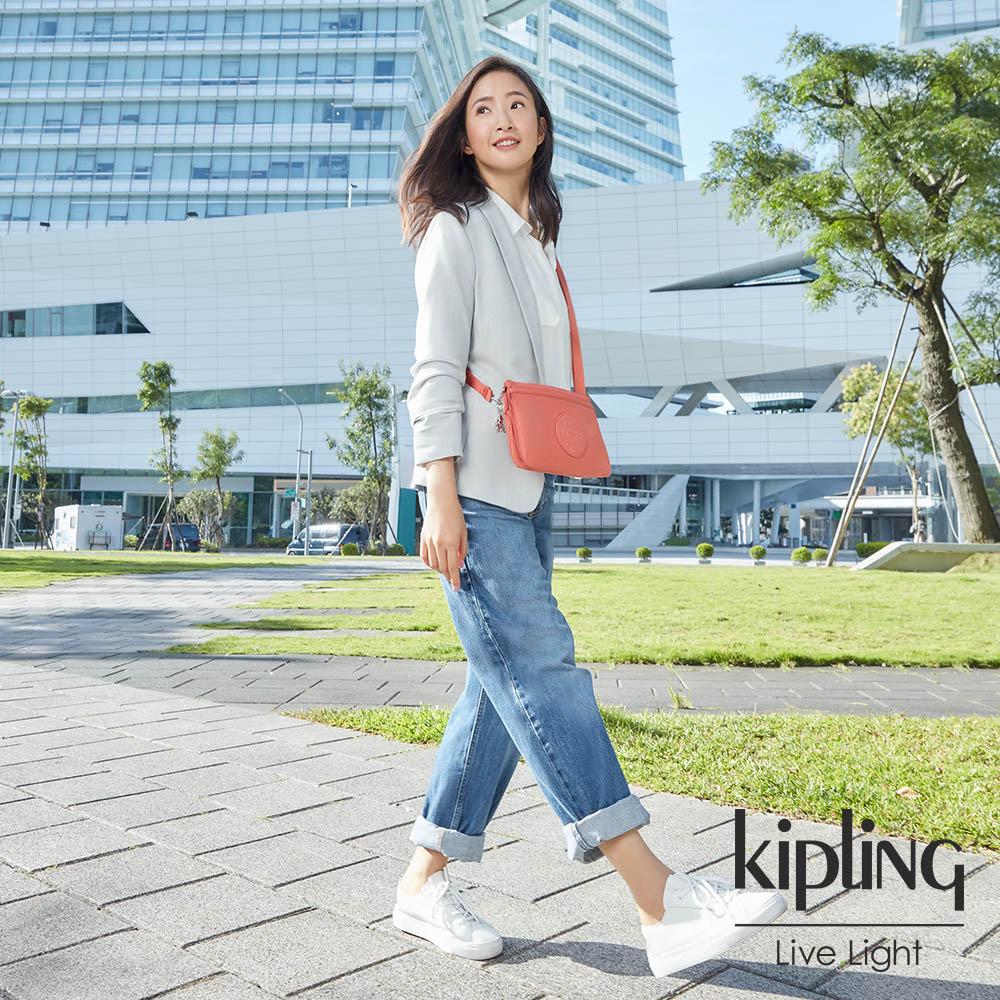Kipling 林依晨款亮麗珊瑚橘色單肩隨身斜背包-RIRI