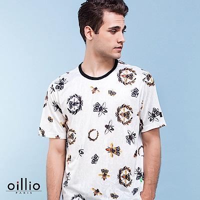 oillio歐洲貴族 短袖圓領印花T恤 超柔軟抗皺涼感衫 白色