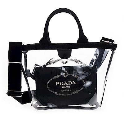 PRADA 透明PVC印字LOGO手提/肩背兩用水桶包附小袋 (小/黑色)