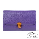 La Poche Secrete斜背包 簡約真皮荔枝紋隨身側背斜背包-魅力紫