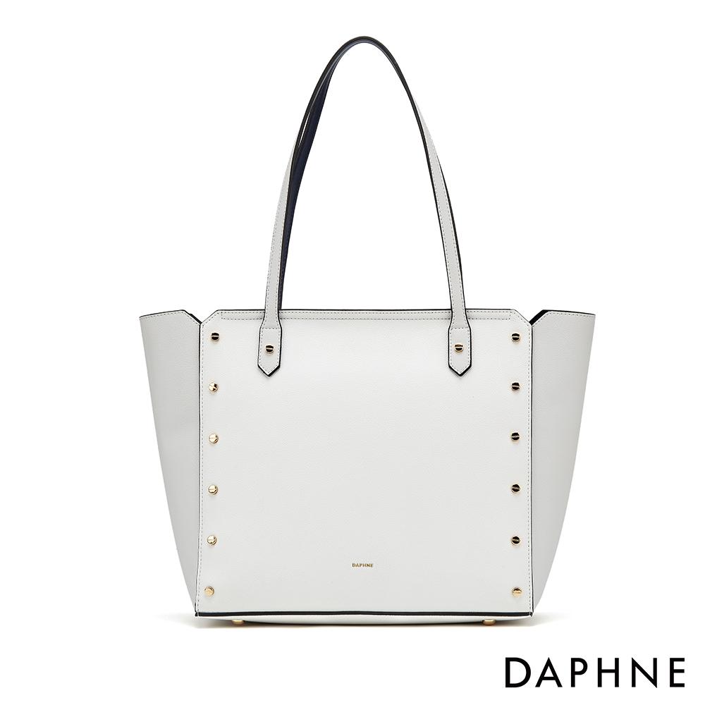 達芙妮DAPHNE-經典百搭鉚釘造型子母拖特包-白色