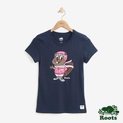 Roots 女裝-可愛海狸短袖T恤-藍