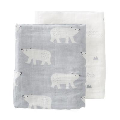 荷蘭 FRESK 有機棉嬰兒棉紗包巾2入組禮盒 (北極熊)