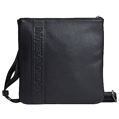 EMPORIO ARMANI 品牌字母LOGO圖騰荔枝紋方形斜背包(大/黑)