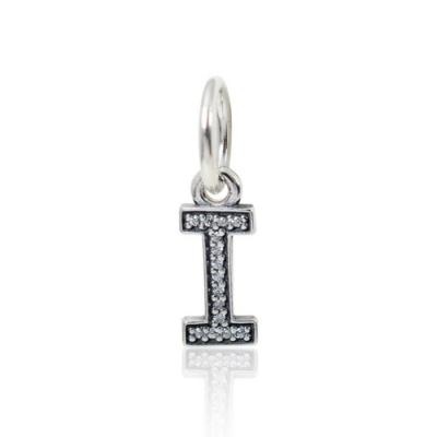 Pandora 潘朵拉 垂墜字母I亮鑽 純銀墜飾 串珠