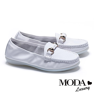 休閒鞋 MODA Luxury 簡約百搭馬銜釦全真皮莫卡辛厚底休閒鞋-白