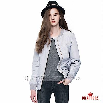 BRAPPERS 女款 質感防風配色舖棉飛行外套-淺灰