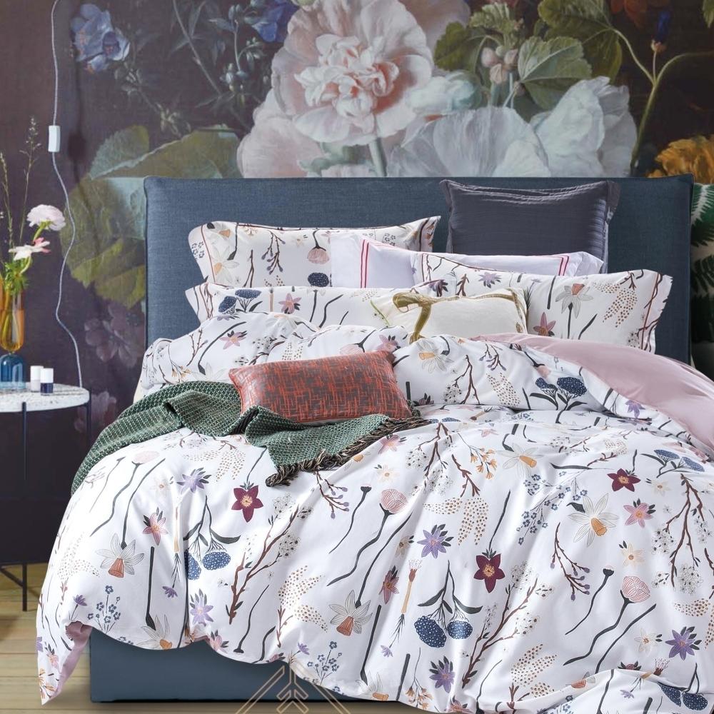 La Lune 台灣製300織紗長纖絨棉雙人被套加大床包四件組 遠望她的嬌羞