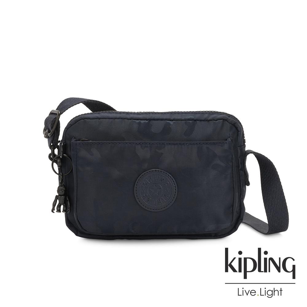 Kipling 光澤迷彩沉穩藍前後加寬收納側背包-ABANU